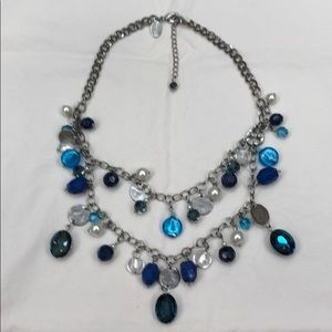 WHBM silver and blue necklace